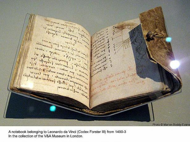 Leonardo da Vinci Notizbuch im V & A Museum in London